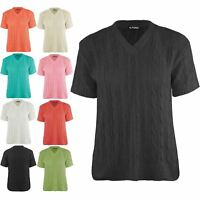 Womens Ladies Short Sleeve V Neck Chunky Cable Knitted Sweater Pullover Jumper
