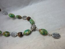 Green stone & tiger eye pendant necklace. Jewelry By Titi