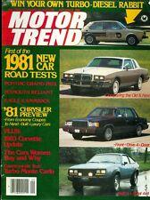 1980 Motor Trend Magazine: New Car Road Test/Pontiac Grand Prix/Plymouth Reliant