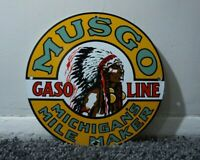 VINTAGE MUSGO PORCELAIN SIGN GAS MOTOR OIL METAL SERVICE STATION GASOLINE RARE