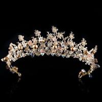 Bridal Wedding Gold Crystal Flower Tiara Crown Coffee Pearl Hair Band Headband