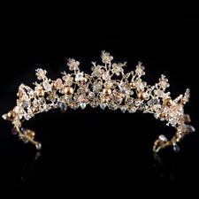 Wedding Bridal Crown Gold Plated Crystal Flower Tiara Pearl Hair Band Headband