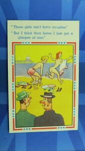 Saucy Comic Postcard 1930's Big Boobs Nude Nudist Beach French Knickers Theme