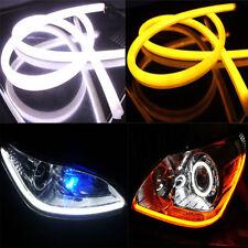 2x 60cm White Car Daytime Running Fog Lamp LED Flexible Soft Tube Strip DR Light