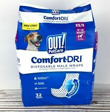 OUT! Disposable Male Dog Wraps Diapers Absorbent 32ct Comfort-Dri Marking Travel