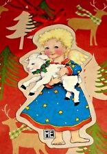 Mary Engelbreit Angel Lamb Wood Christmas Ornament Midwest Cherub Sheep