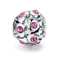 European Silver Heart Pink CZ Charm Bead Pendant Fit 925 Sterling Bracelet Chain