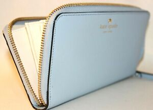 NEW KATE SPADE NEW YORK- MIKAS POND WHITE LEATHER WALLET: ARCTIC SKY BLUE