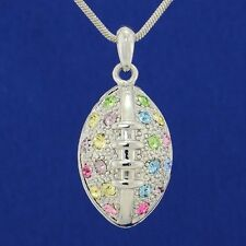 Made With Swarovski Crystal American Football 3D Ball Multi Color Sport Necklace