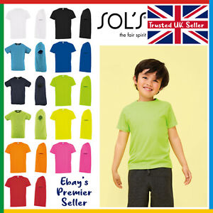 Kids Sporty Plain T-Shirt • Sol's 100% Polyester Children's Tee • Breathable