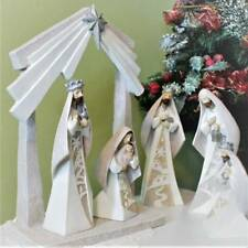 Nativity Set 8 inch with 12 inch Stable Magi Architectural Style Resin 6pc