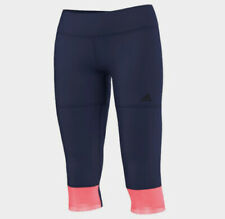 Tracksuit Bottoms Tight Adidas GS 3/4 Tight Q2, Ladies, Climalite, Blue Pink
