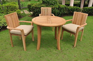"""Vellore A-Grade Teak Wood 4 pc Dining 36"""" Round Table Arm Stacking Chair Set New"""