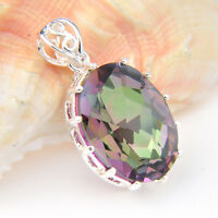 Special Price Jewelry Gift Oval Rainbow Mystic Topaz Silver Necklaces Pendants
