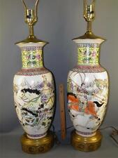 PR ASIAN CHINESE FAMILLE ROSE BATTLEFIELD WARRIORS QIANGLONG MARK VASES LAMPS