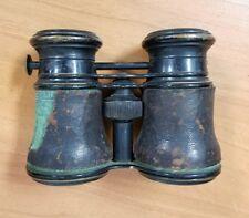 Antique Leather Covered S.O.M.C. New York Opera Glasses Racing Binoculars