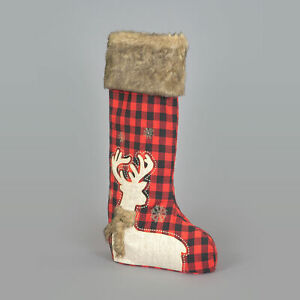 60cm Free Standing Christmas Stocking with Deer Design and Fur Cuff