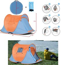 Instant Tent Pop Up Portable Camping Tents 2 Person Hiking Shelter With Bag Blue