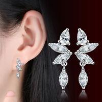 925 Sterling Silver Austrian Oval Crystal Drop Earrings Stud For Women Wedding