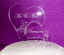 Engraved Heart Acrylic Personalised Wedding cake toppers decorations  monogram