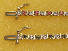 10k Yellow Gold Bracelet with Diamonds & Rubies or Sapphires(25st)5.1gr