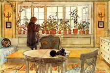 """Carl Larsson: la Flor ventana: estilo sueco: 24 """"Fine Art Lona Impresión"""
