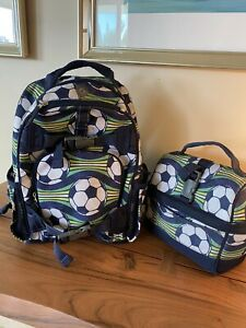Pottery Barn Kids Small Soccer Backpack & Retro Lunch Box
