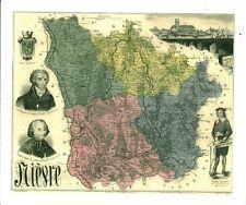 Réédition de gravure ancienne carte région département français la Nièvre