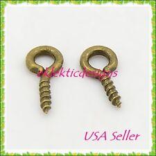 100pcs Antique Brass Bronze Bead Pendant Pin Bail Eye Screws Tips 8x4mm Findings