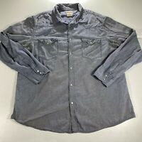 Pearl Snap Button Up Shirt Adult 2XL XXL Mossimo Blue Denim Western Cowboy Mens