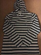 Brand New Men's Lacoste White/Black Stripe Long Sleeve Hood Very Nice!!!