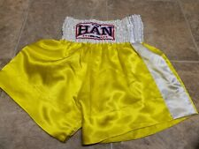 Han Muay Thai Medium Shorts White And Yellow New