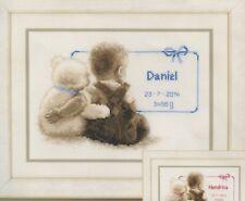 Stickpackung Stickbild 26x18 cm Junge Mädchen Bär Teddy Geburt Lieblingsbärchen