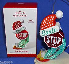 Hallmark Magic Ornament Santa Stop Here 2014 Rock Around the Clock Sound Light