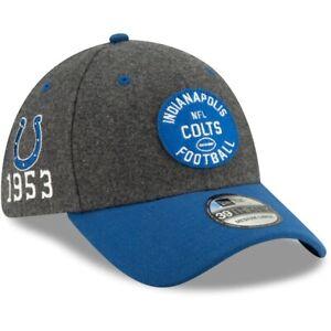 Indianapolis Colts Hat New Era 39Thirty Gray Blue Flex Fit Cap Size L/XL Wool