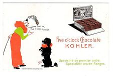 TRADE CARD KOHLER CHOCOLATE CLOWN WITH POODLE ARTIST-SIGNED