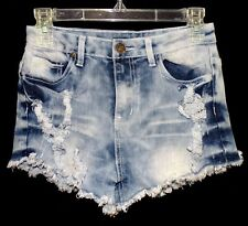 Sz 5 Junior/Women AVIVA Stretchy Denim Cutoff Jean Shorts Destroyed Distressed