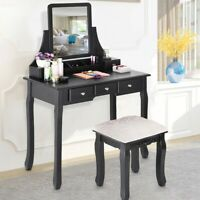 Simple Vanity Set Dressing Table Desk Makeup Table With Mirror Cushioned Stool
