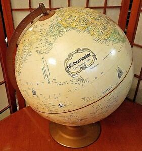 """Vintage Replogle Globemaster 12"""" Inch Globe Tan Shows Explorers Expedition Route"""