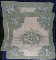 Pillow Shams Set of 2 Patchwork Quilted Green Gingham Blue Floral Shabby Chic