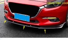 for Mazda 3 Axela 2014-2018 Carbon Fiber Black Front Bumper Lip Cover Trim 3pcs
