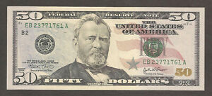 "United States of America 50 Dollars 2004; UNC; P-522a; Grant; ""B"" New York"
