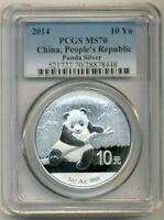 PCGS China 2014 10 Yuan Silver Panda UNC MS70 Blue Label