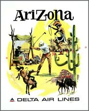 Arizona 1960 Airline Travel Delta Vintage Poster Print Retro Style Tourism