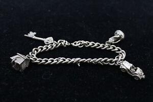 Vintage .925 Sterling Silver Curb Link Charm BRACELET w/ Spring Ring Clasp (35g)