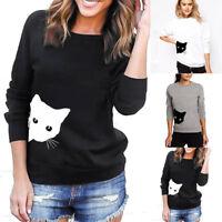 Felpe con cappuccio lato gatto stampato da donna Felpe con cappuccio con capp Eo