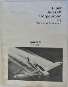 Piper Aircraft 1978 Pawnee Ag Equipment Options  Price Weight Fuel System Power