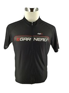 Louis Garneau Mens Cycling Jersey Shirt Top XL Black Polyester Zip Front