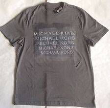 NWT Mens Michael Kors Logo Crewneck Short Sleeve T-Shirt Ash Melange Gray M