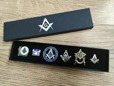 More details for masonic pin badge collection ( boxed set of 6 ) - men's lapel gift / freemason
